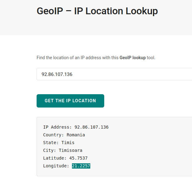 The output of a geo-ip search.