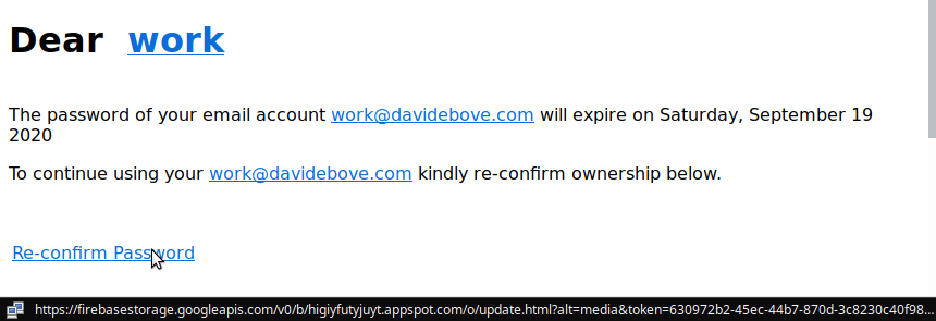 The link of the email is revealed to lead to a gibberish website link.