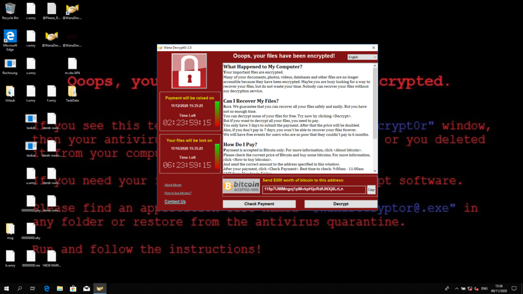 WannaCry ransomware window with a description on how to decrypt your files.