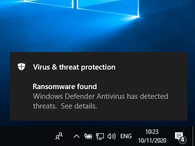 """A popup by Windows Defender saying """"Ransomware found""""."""
